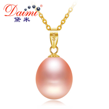 DAIMI 18K Gold Chain 9-10mm Freshwater Pearl Pendant Necklaces Brand Jewelry Wedding Necklace Accessories