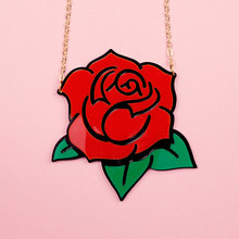 Fashion Punk Metal Gold Chain Red Rose Flower Necklace Night Club Jewelry Accessories