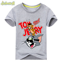 2017 Baby Tom and Jerry Cartoon Printing Tshirt Boy Girl Short Sleeve Tee Tops Clothes Children Cotton Summer Costume ACY109