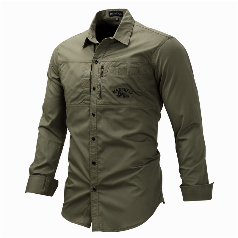 Fredd Marshall Fashion Men's Shirts Spring Cotton Solid Color Long Sleeve Male Shirt with Zipper Pockets Camisa Masculina Plus Size (1)