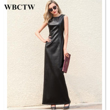 Sleeveless Black Maxi PU Dress Solid Casual Sexy Slim Autumn Summer Faux Leather Woman Dress Large Size Women's Clothing 6XL(China)