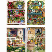 Warm Home Flower On the Shelf Diamond Embroidery Diy Diamond Paintings Mosaic Picture Pattern Cross Stitch Full Rhinestone