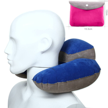 2017 U-Shaped Inflatable Travel Pillow Air Cushion Plane Flight Shoulder Neck Rest Rose red and Blue Color(China)