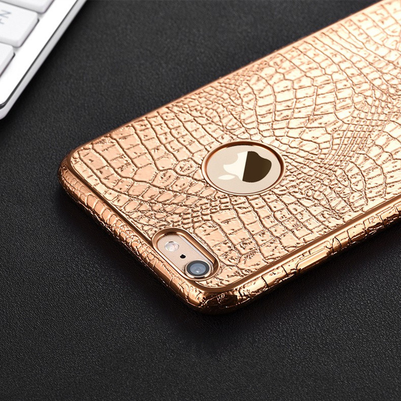 "Luxury 3D Crocodile Snake Print Plating Case For iPhone 7 6 6s 4.7""/ Plus 5 5S SE Ultra Thin Soft TPU Silicone phone Back Cover(China (Mainland))"