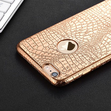 Luxury 3D Crocodile Snake Print Plating Case For iPhone 7 6 6s Plus 5 S 5S SE Ultra Thin Soft TPU Silicone phone Back Cover(China)