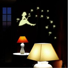 High Quality PVC Sticker Girl Dandelion Glow in the dark Wallpaper For Children's Room Decoration Decals