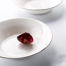 Western-style Ceramic Bone China Cute Small Dish Gold Plating Platinum Rim Flavoring Dip Brief White Dish Restaurant Tableware