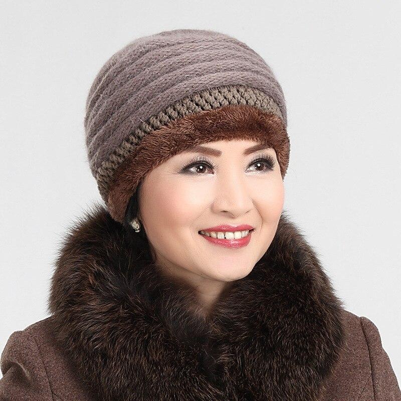 Womens Winter Hats rabbit knitting wool hat old aged Rabbits hair winter female hat cap wholesale middle-aged mother grandmaÎäåæäà è àêñåññóàðû<br><br><br>Aliexpress