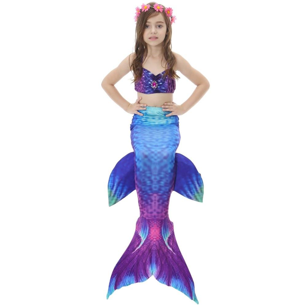 Girls Bathing Suit Swimming Mermaid Tail Monofin Little Children Ariel Mermaid Costume Kids Swimsuit Cosplay