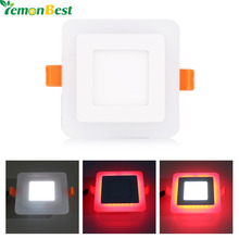LED Panel Light 6W 9W Square Concealed Dual Color Cool White+Blue/Red/Pink/RGB Lamp Downlight AC100-265V(China)