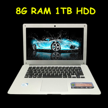 "Cheap 14"" Laptop Computer Notebook Celeron J1900 Quad Core 8G RAM 1TB HDD Windows 7/8 WIFI Webcam Portable Laptops PC(China)"