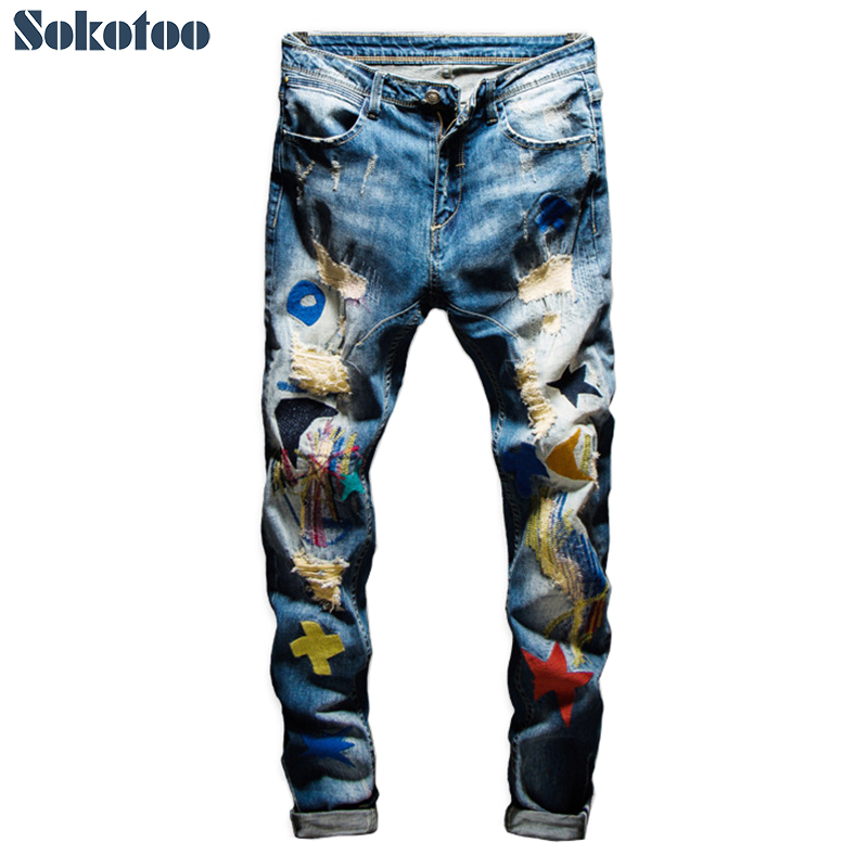 Men's colored patchwork ripped jeans Trendy fashion patch design embroidery stretch denim pants Slim straight trousers
