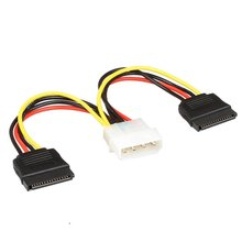 Relper-Lineso sata power cable Serial ATA SATA 4 Pin IDE Molex to 2x 15 Pin HDD Power Adapter Cable(China)