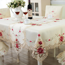 Europe Style Wedding Tablecloth Embroidered Floral Lace Edge Dustproof Covers for Table Home Party Table Cloths High Quality