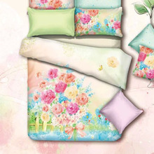 Watercolor Painting Flowers Rose Bedding Set Queen Size Pure Cotton Fabric Bed Sheets Duvet Cover Pillowcase Bed in a Bag 4pcs(China)