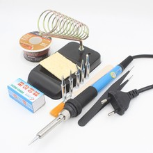 60W 220V EU Electric Adjustable Temperature Welding Solder Soldering Iron Welding Tool with 5pcs Iron Tips + Tin wire