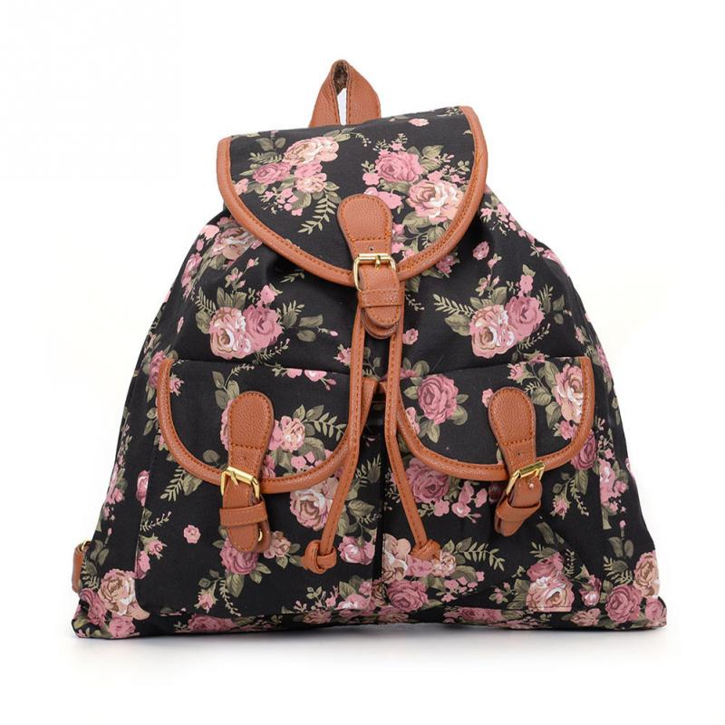 1PC Canvas Backpack Floral Printed School Teenage Girls Travel Backpack Daily Rucksack Large
