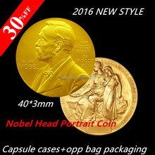 30% Discount! Dhl free shipping 100pcs/lot Nobel Head Portrait Coin,The Nobel Prize in Physiology or Medicine Gold Plated Coin