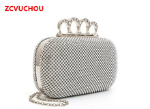 Super Spring Popular Women Both Sides Diamonds Finger Four Ring Ring Evening Bags Day Clutches Purse / Bling Bags Gold / Silver