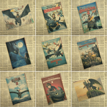How to Train Your Dragon Classic Cartoon Movie Kraft Paper Poster Bar Cafe Living Room Dining Child room Decorative Paintings