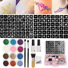 12 Colors Powder Temporary Shimmer Diamond Glitter Tattoo Kit For Body Art Design Paint With Rhinestone 111 Stencil Glue+Brushes