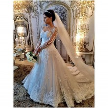 Vestido De Noiva Super Beautiful Long Sleeves Sheer Lace Back Wedding Dress Robe De Mariage