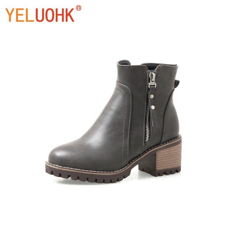 33-43 Ankle Boots For Women Platform Women Winter Boots Plush Women High Boots Big Size<br>