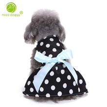 MISS DOGGY Elegant Summer Dog Dresses Bowknot Tulle Dots Dress outfit for Dogs Pet Clothing Puppy Skirt Dog Clothes