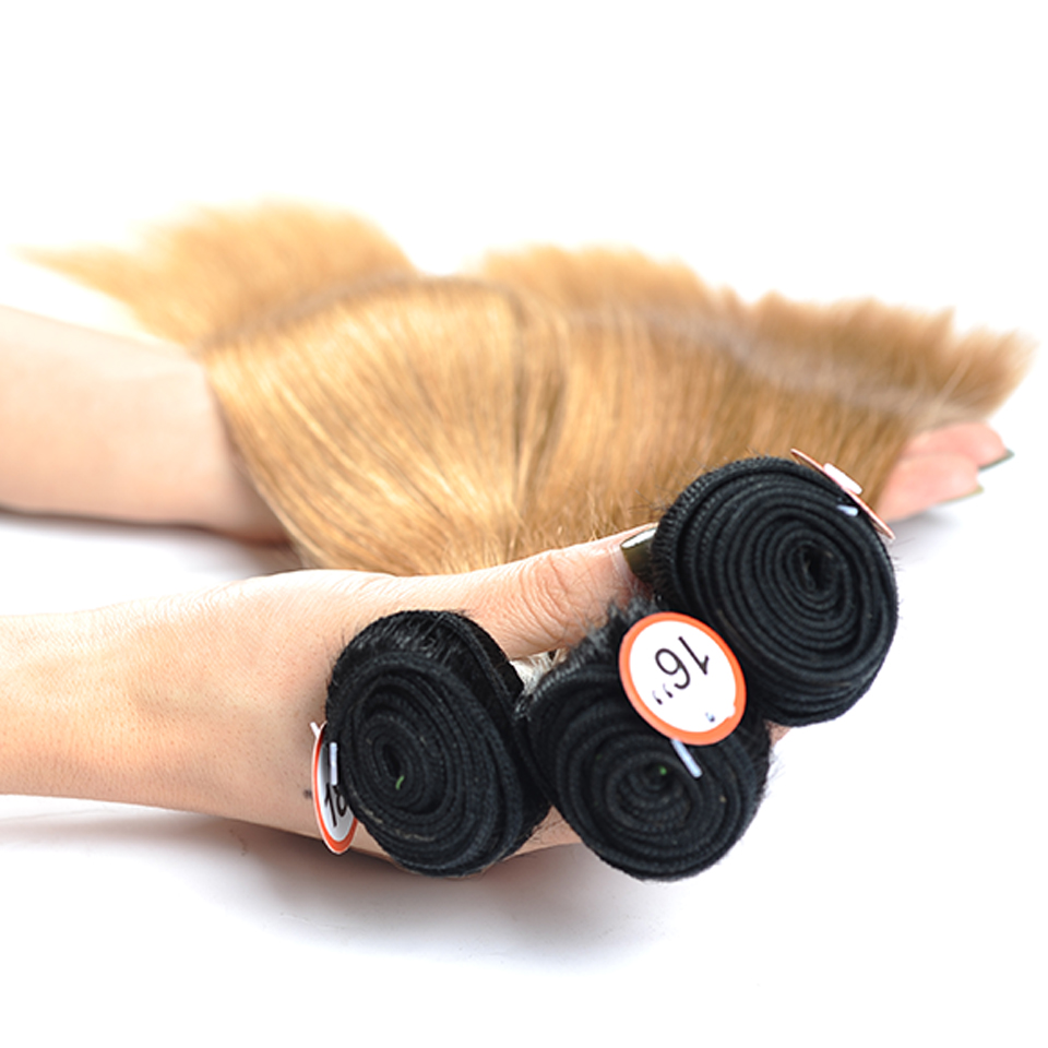 Pinshair Pre-Colored Honey Blonde 1B 27 Brazilian Straight Hair Bundles With Closure Ombre Dark Roots Human Hair Nonremy No Shed (46)