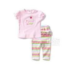 New 2016 baby summer suit children clothing girls pink princess short sleeves T-shirts pullover + infant pants sets kids clothes