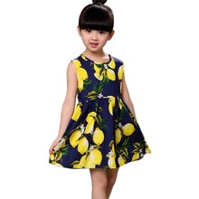 Hot Sale New 2017 Summer Girl Dress Fruit Lemon Pattern Baby Girl Dress Children Sundresses Kids Dresses