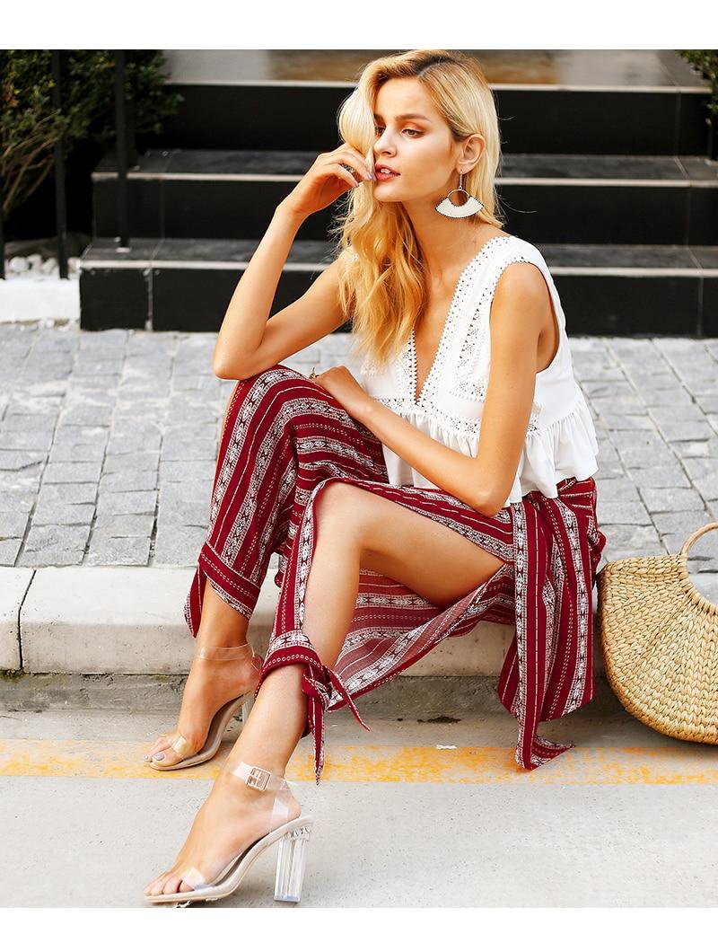 Striped print harem pants capri High split thigh waist trousers