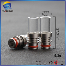 Sailing vape 510 drip tips glass long drip stainless steel core finned heat insulated for 510 atomizer 10pcs wholesale