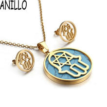 ANILLO Women Hamsa Fatima Simulated-pearl Necklace & Earrings Fashion Hollow Out Stainless Steel Hand Jewelry(China)