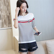 7274 real women, new ice linen stripes, short sleeved, low neck, 38-2 colors
