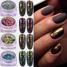 2017 Hot Sell 1 Box Chameleon Nail Sequins Glitter Holographic Powder Dust Dazzling Nails Nail Art Glitter Decorations(China)