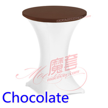 Brown colour spandex top cover for round cocktail lycra table cloth wedding banquet party cocktail table decoration sale