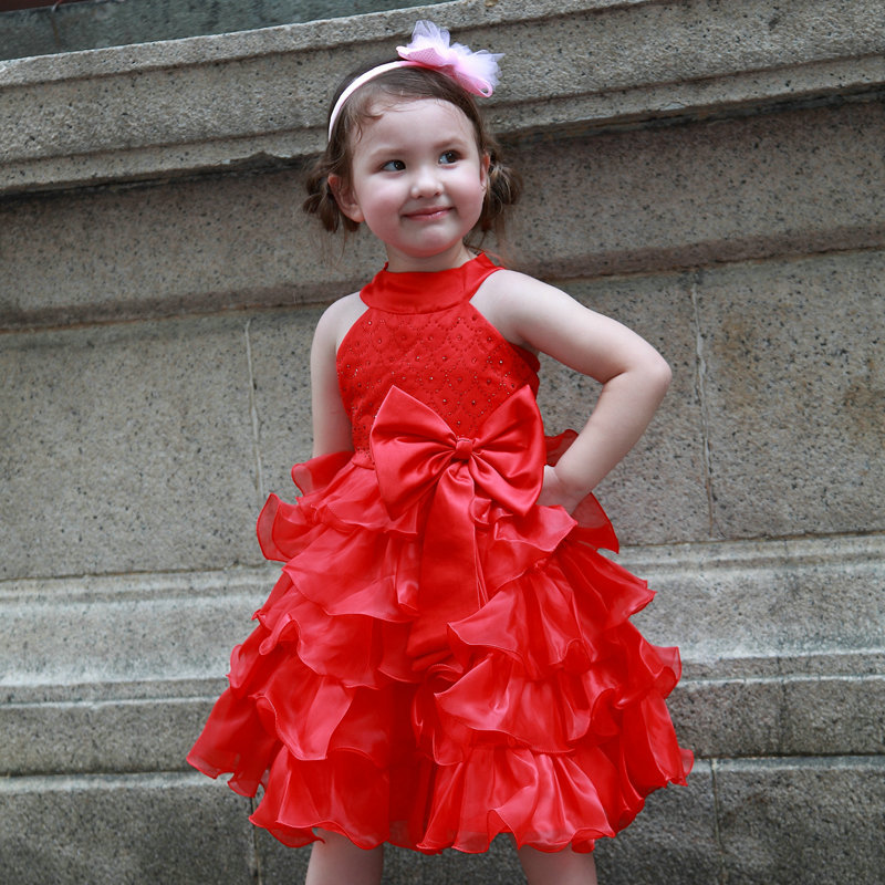 Formal Girl Dresses Red Bow Sleeveless Design Girl Princess Vestidos 2017 Brand Kids Clothes For Girls Of 12 Years Old AKF164065<br>