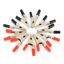 10pcs/lot Insulated Crocodile Clips Plastic Handle Cable Lead Testing Metal Alligator Clips Clamps 52mm(China)