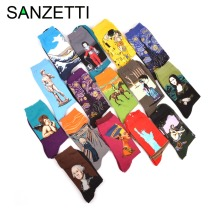 SANZETTI 5 pair/lot Men's Combed Cotton Socks Popular Retro Art Oil Painting Style Funny Men's Long Socks Colorful Casual Sox(China)