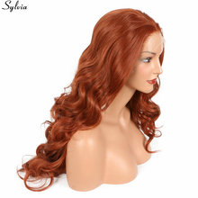 Sylvia Natural Long Body Wave Synthetic Wigs Heat Resistant Lace Front Wig 350# Orange Copper Red Natural Hairline Free Parting(China)