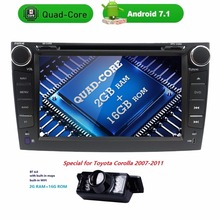 android7.1 car dvd player For Toyota corolla 2007 2008 2009 2010 2011 in dash 2 din 1024*600 car radio gps video head unit 2GRAM(China)