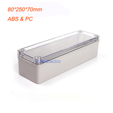 High Quality Clear Cover plastic electrical distribution box , IP66 waterproof junction Enclosure 80*250*70mm terminal boxes(China)
