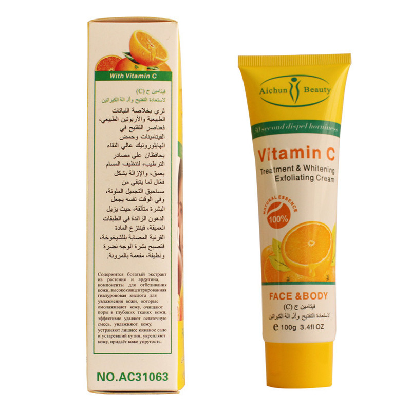 AICHUN 100g Herbal Vitamin C Treatment Whitening Mildly Soften Exfoliating Cream Peeling Gel Face Body Beauty Skin Care 8