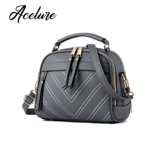 ACELURE Thread Solid Women Bag Fashion PU Leather Handag Women Shoulder Bags Casual Small Tote Bags High Quality bolsa feminina