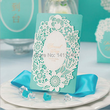 free shipping white laser cut design Mint Green /light blue Wedding Invitation Card Birthdays Event Party Invitations 50pcs/lot