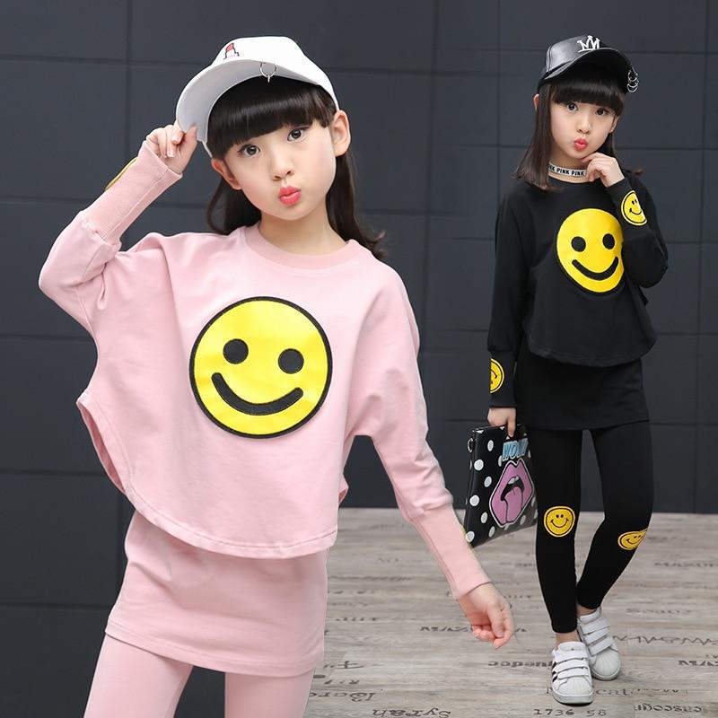 Childrens Garment Girl Korean Child Spring Clothes Suit Motion Bat Shirt Skirt Three-piece Kids Clothing Sets<br>