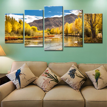 5 Pieces No Frame Mountains Landscape Golden Trees Blue Sky Clouds Autumn Painting Modern Wall Art Canvas Print Painting
