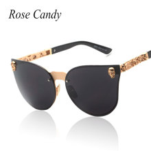 Rose Candy Rose Gold Sunglasses Women Skull Mirror Brand Designer Metal Frame Sun Glasses Mirror Flat Lens Cat Eye Hot Sale(China)