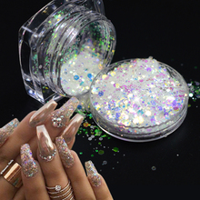 1g Hot Bling Bling Glitter Powder Nail Art Sequin 3D Slice Rainbow Clear Hexagon Flakes DIY Charm Nail Art Decor Tips TRT01-04